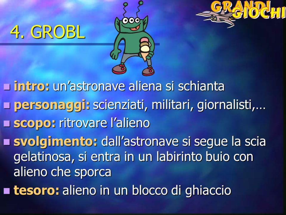 4. GROBL intro: un'astronave aliena si schianta intro: un'astronave aliena si schianta personaggi: scienziati, militari, giornalisti,… personaggi: sci