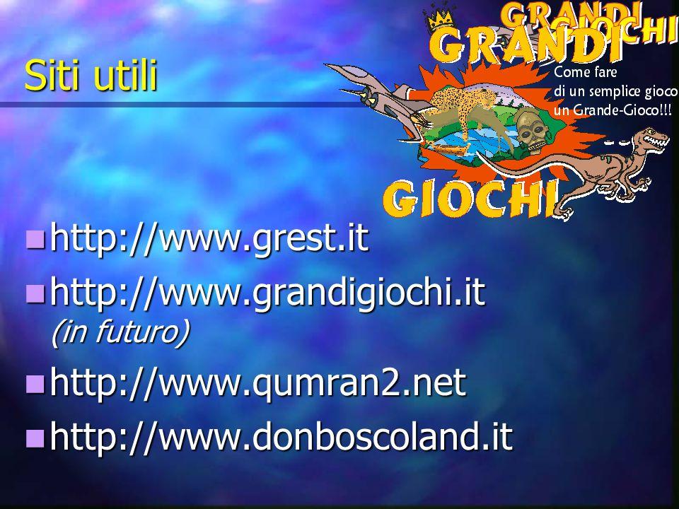 Siti utili http://www.grest.it http://www.grest.it http://www.grandigiochi.it (in futuro) http://www.grandigiochi.it (in futuro) http://www.qumran2.net http://www.qumran2.net http://www.donboscoland.it http://www.donboscoland.it