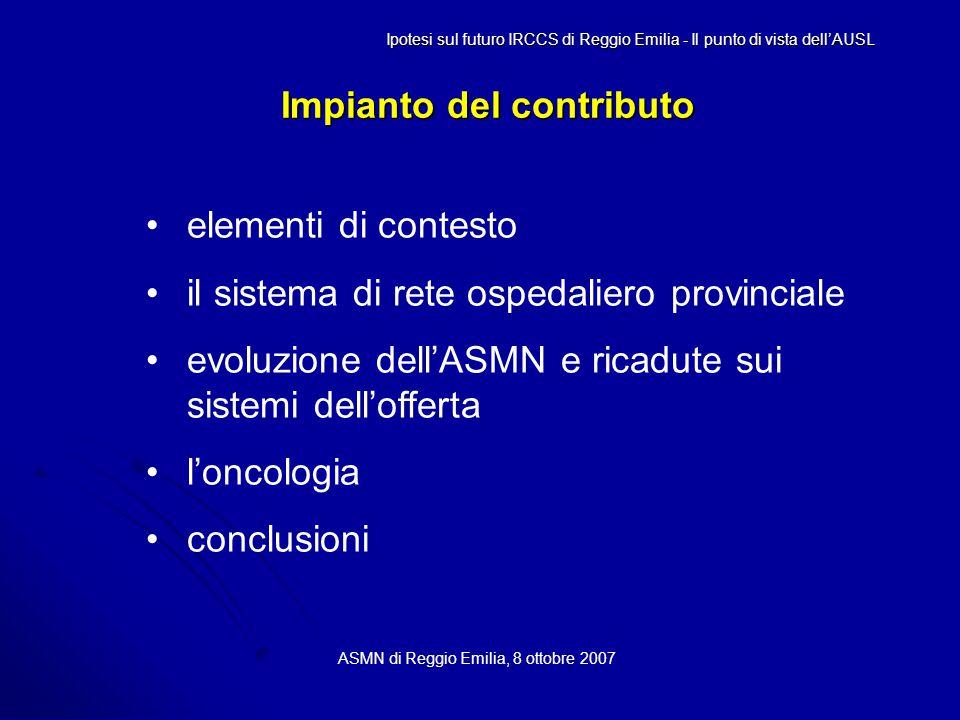 Impianto del contributo ASMN di Reggio Emilia, 8 ottobre 2007 elementi di contesto il sistema di rete ospedaliero provinciale evoluzione dell'ASMN e ricadute sui sistemi dell'offerta l'oncologia conclusioni Ipotesi sul futuro IRCCS di Reggio Emilia - Il punto di vista dell'AUSL
