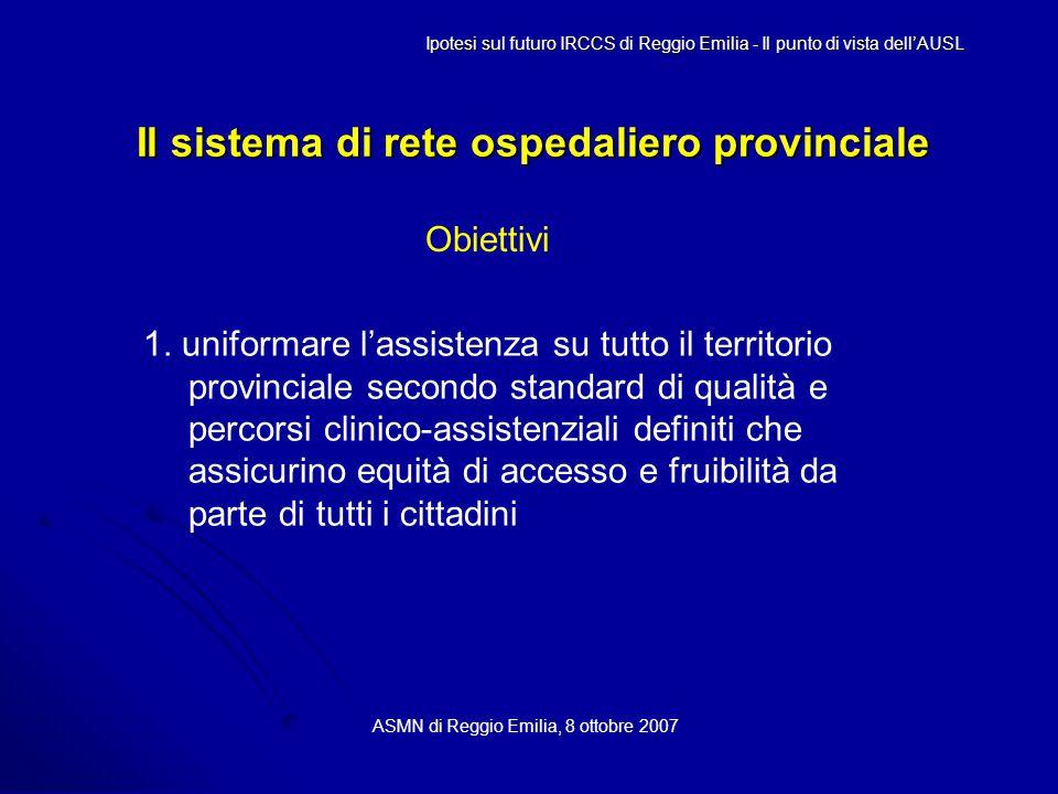 Il sistema di rete ospedaliero provinciale ASMN di Reggio Emilia, 8 ottobre 2007 Ipotesi sul futuro IRCCS di Reggio Emilia - Il punto di vista dell'AUSL Obiettivi 1.