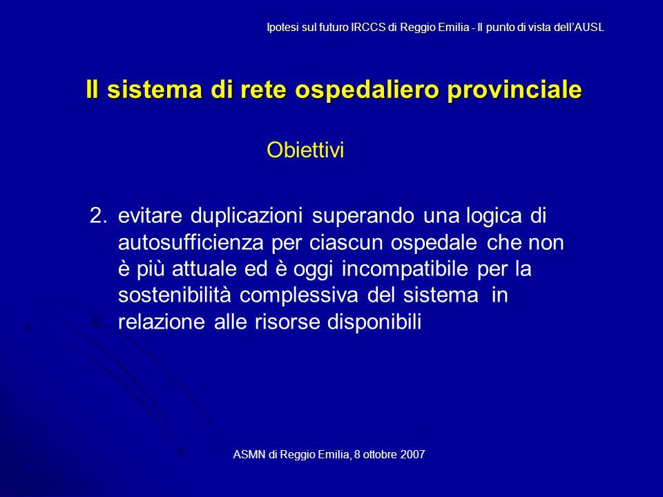 Il sistema di rete ospedaliero provinciale ASMN di Reggio Emilia, 8 ottobre 2007 Ipotesi sul futuro IRCCS di Reggio Emilia - Il punto di vista dell'AUSL Obiettivi 2.evitare duplicazioni superando una logica di autosufficienza per ciascun ospedale che non è più attuale ed è oggi incompatibile per la sostenibilità complessiva del sistema in relazione alle risorse disponibili