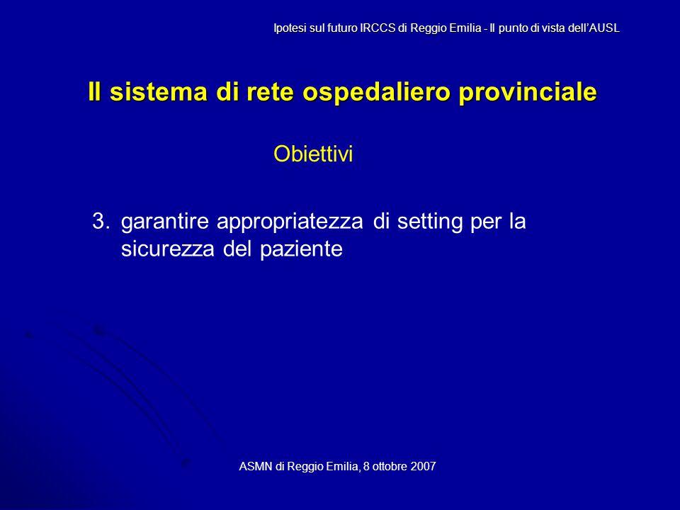 Il sistema di rete ospedaliero provinciale ASMN di Reggio Emilia, 8 ottobre 2007 Ipotesi sul futuro IRCCS di Reggio Emilia - Il punto di vista dell'AUSL Obiettivi 3.garantire appropriatezza di setting per la sicurezza del paziente