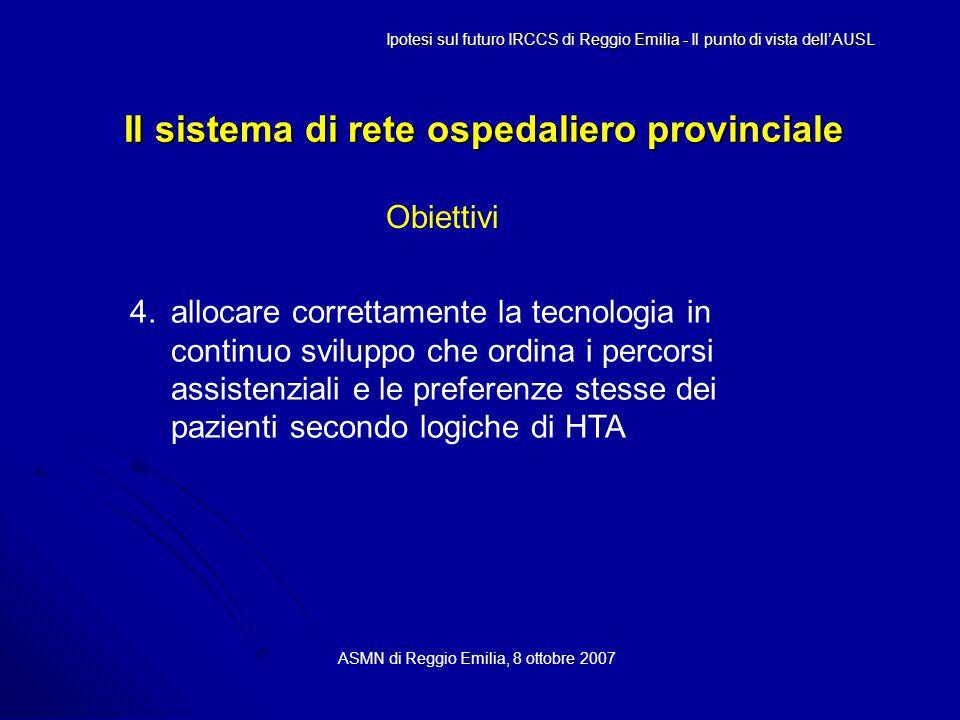 Il sistema di rete ospedaliero provinciale ASMN di Reggio Emilia, 8 ottobre 2007 Ipotesi sul futuro IRCCS di Reggio Emilia - Il punto di vista dell'AUSL Obiettivi 4.allocare correttamente la tecnologia in continuo sviluppo che ordina i percorsi assistenziali e le preferenze stesse dei pazienti secondo logiche di HTA