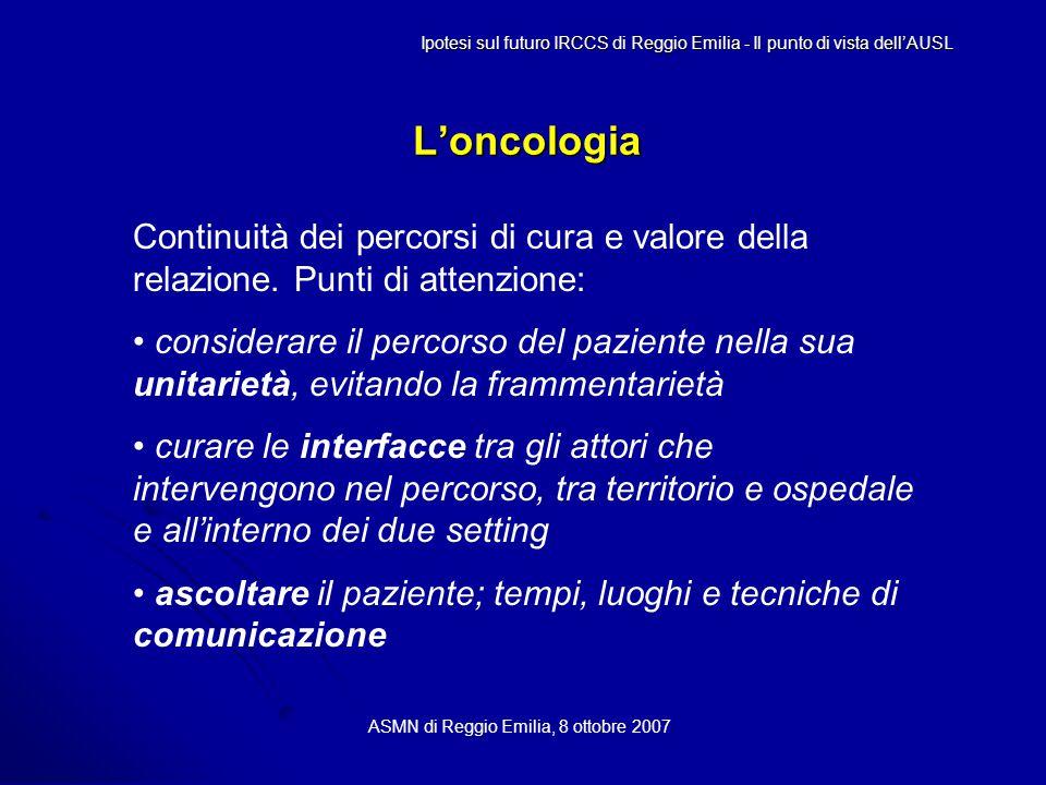 L'oncologia ASMN di Reggio Emilia, 8 ottobre 2007 Continuità dei percorsi di cura e valore della relazione.