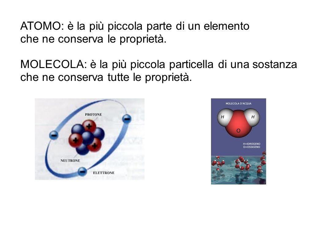 Elemento chimico: è una sostanza che non può più essere scomposta in sostanze più semplici.