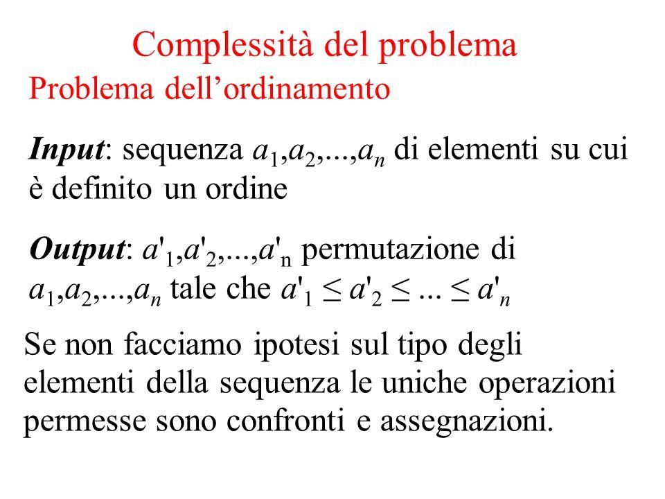 Complessità del problema Se non facciamo ipotesi sul tipo degli elementi della sequenza le uniche operazioni permesse sono confronti e assegnazioni. P