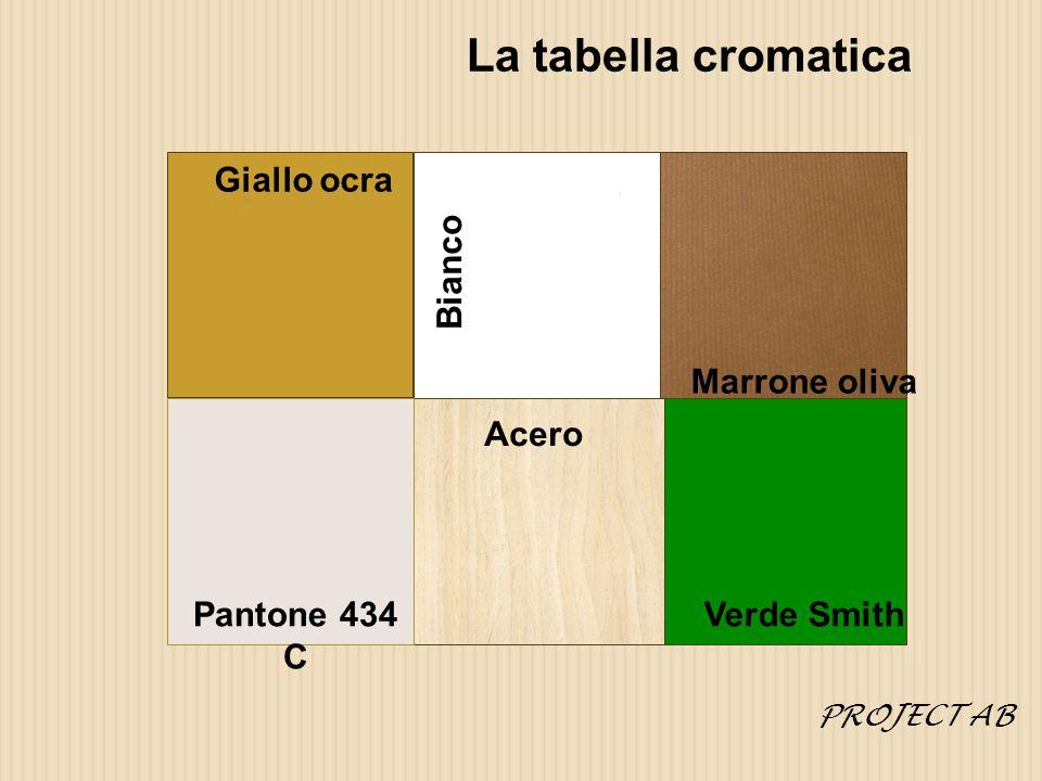 La tabella cromatica Giallo ocra Bianco Marrone oliva Verde Smith Acero Pantone 434 C PROJECT AB