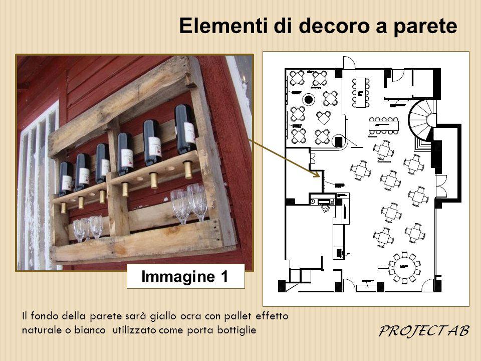 Elementi di decoro a parete Immagine 1 Il fondo della parete sarà giallo ocra con pallet effetto naturale o bianco utilizzato come porta bottiglie PROJECT AB