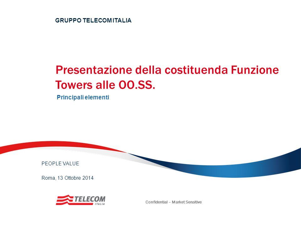 Presentazione della costituenda Funzione Towers alle OO.SS. Principali elementi GRUPPO TELECOM ITALIA PEOPLE VALUE Roma, 13 Ottobre 2014 Confidential