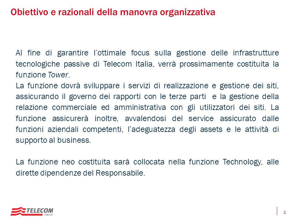 2 Obiettivo e razionali della manovra organizzativa Al fine di garantire l'ottimale focus sulla gestione delle infrastrutture tecnologiche passive di Telecom Italia, verrà prossimamente costituita la funzione Tower.