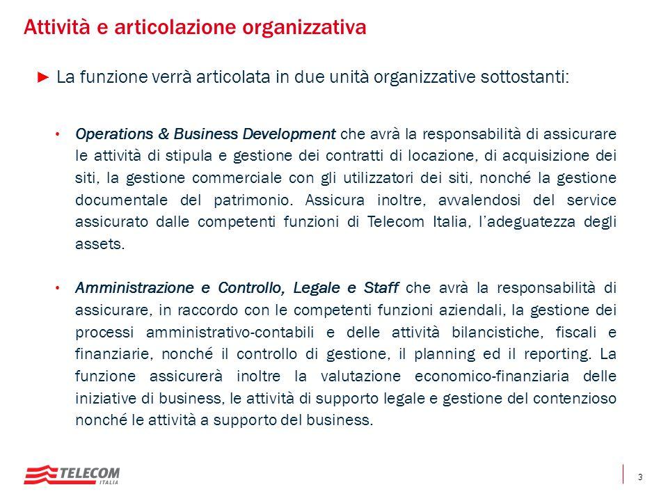 3 Attività e articolazione organizzativa ► La funzione verrà articolata in due unità organizzative sottostanti: Operations & Business Development che