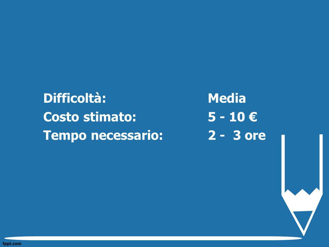 Difficoltà: Media Costo stimato: 5 - 10 € Tempo necessario:2 - 3 ore