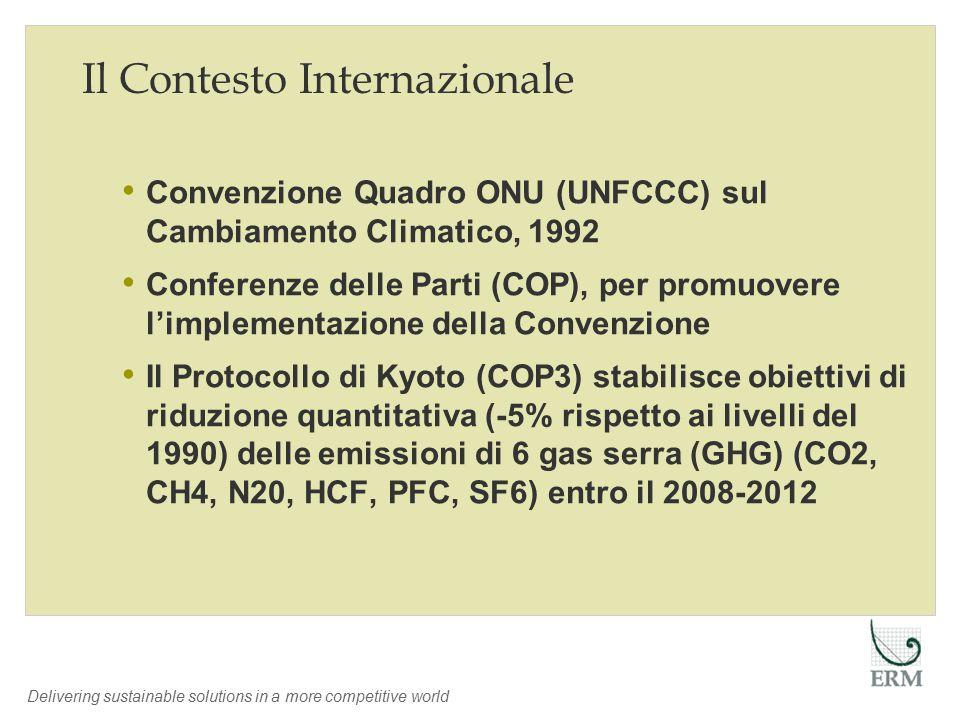 Delivering sustainable solutions in a more competitive world Il Contesto Internazionale Convenzione Quadro ONU (UNFCCC) sul Cambiamento Climatico, 1992 Conferenze delle Parti (COP), per promuovere l'implementazione della Convenzione Il Protocollo di Kyoto (COP3) stabilisce obiettivi di riduzione quantitativa (-5% rispetto ai livelli del 1990) delle emissioni di 6 gas serra (GHG) (CO2, CH4, N20, HCF, PFC, SF6) entro il 2008-2012