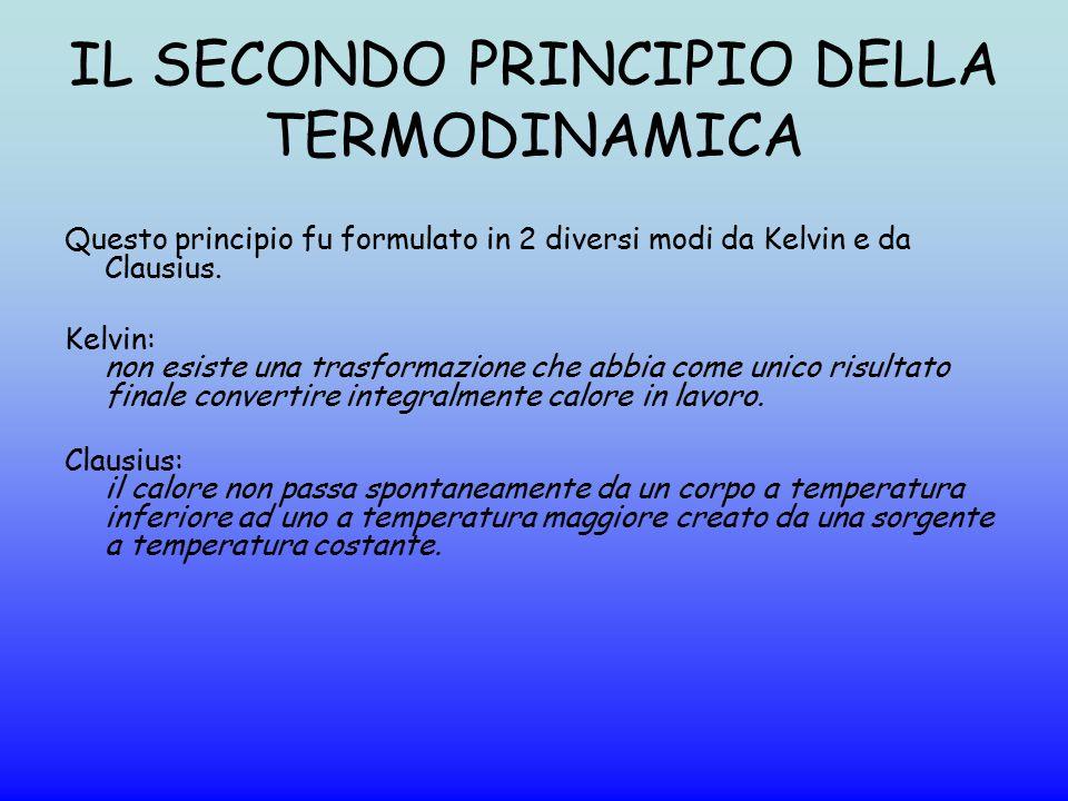 IL SECONDO PRINCIPIO DELLA TERMODINAMICA Questo principio fu formulato in 2 diversi modi da Kelvin e da Clausius. Kelvin: non esiste una trasformazion