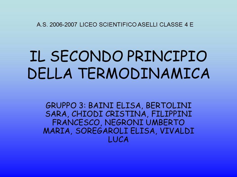 IL SECONDO PRINCIPIO DELLA TERMODINAMICA GRUPPO 3: BAINI ELISA, BERTOLINI SARA, CHIODI CRISTINA, FILIPPINI FRANCESCO, NEGRONI UMBERTO MARIA, SOREGAROL