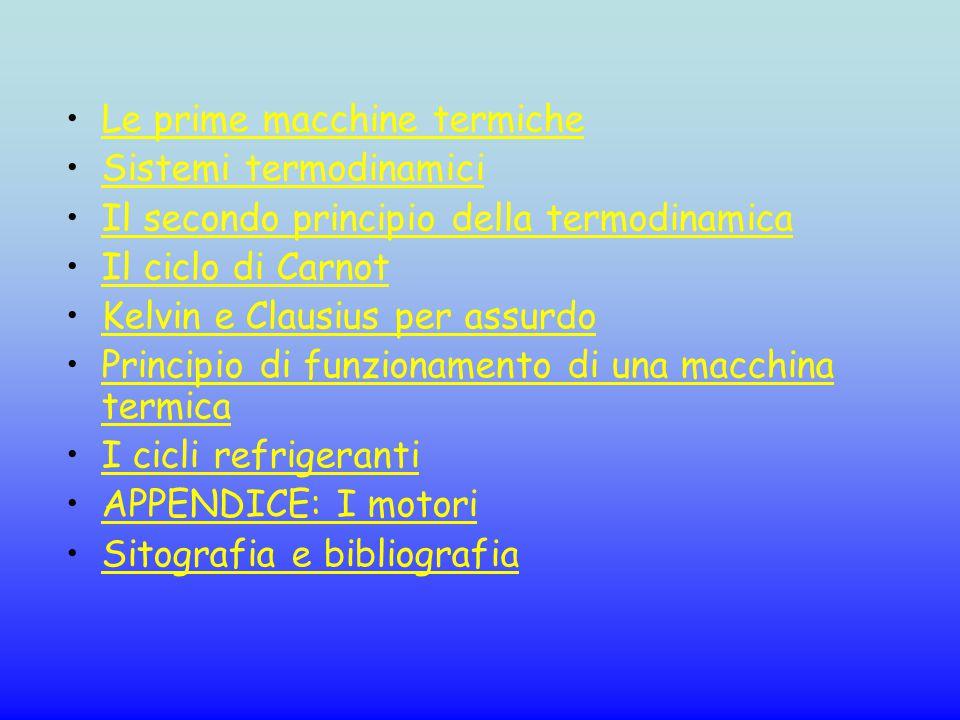 Le prime macchine termiche Sistemi termodinamici Il secondo principio della termodinamica Il ciclo di Carnot Kelvin e Clausius per assurdo Principio d