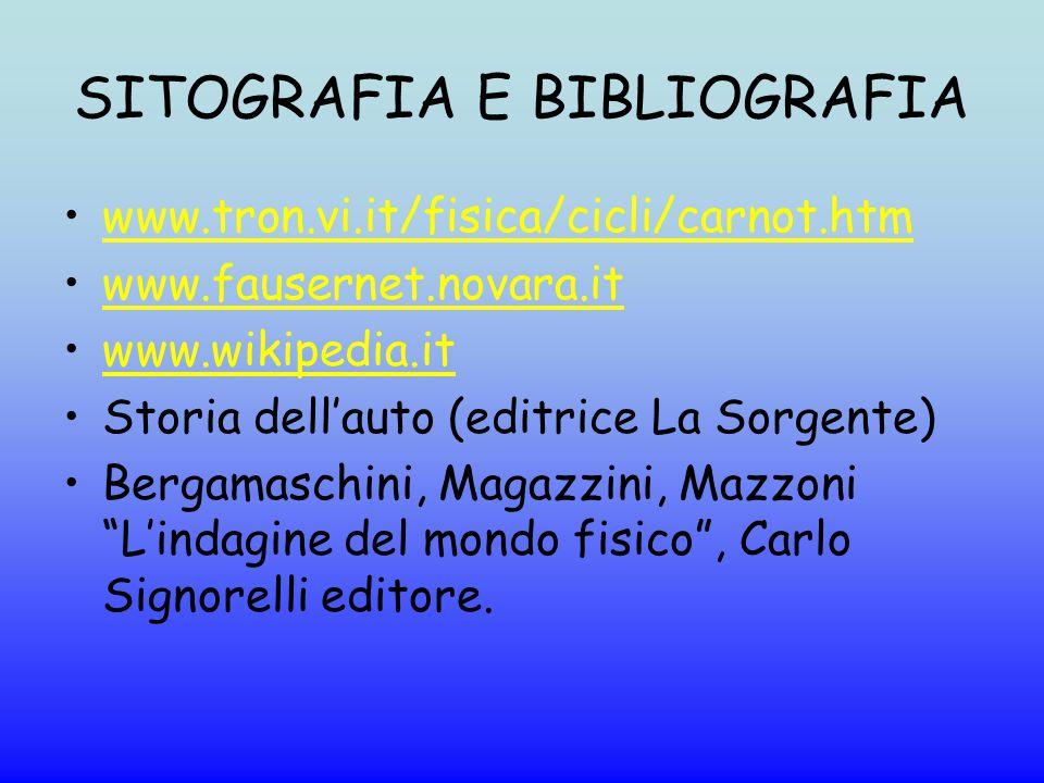 SITOGRAFIA E BIBLIOGRAFIA www.tron.vi.it/fisica/cicli/carnot.htm www.fausernet.novara.it www.wikipedia.it Storia dell'auto (editrice La Sorgente) Berg