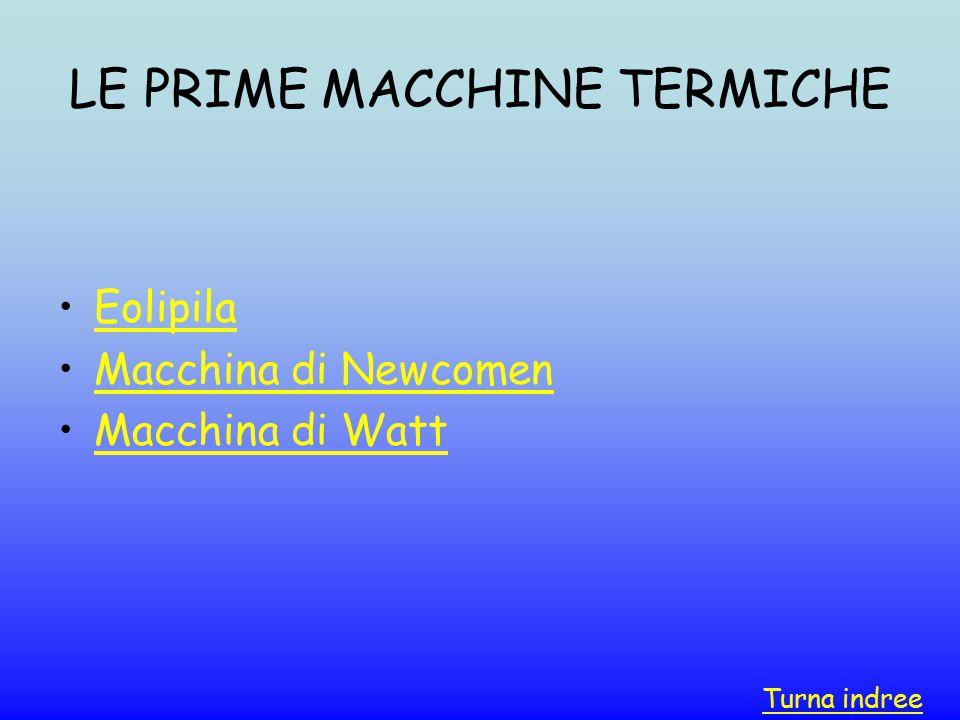 LE PRIME MACCHINE TERMICHE Eolipila Macchina di Newcomen Macchina di Watt Turna indree