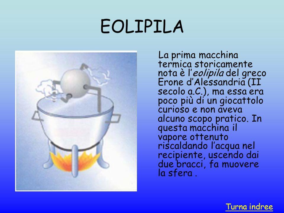 EOLIPILA La prima macchina termica storicamente nota è l'eolipila del greco Erone d'Alessandria (II secolo a.C.), ma essa era poco più di un giocattol