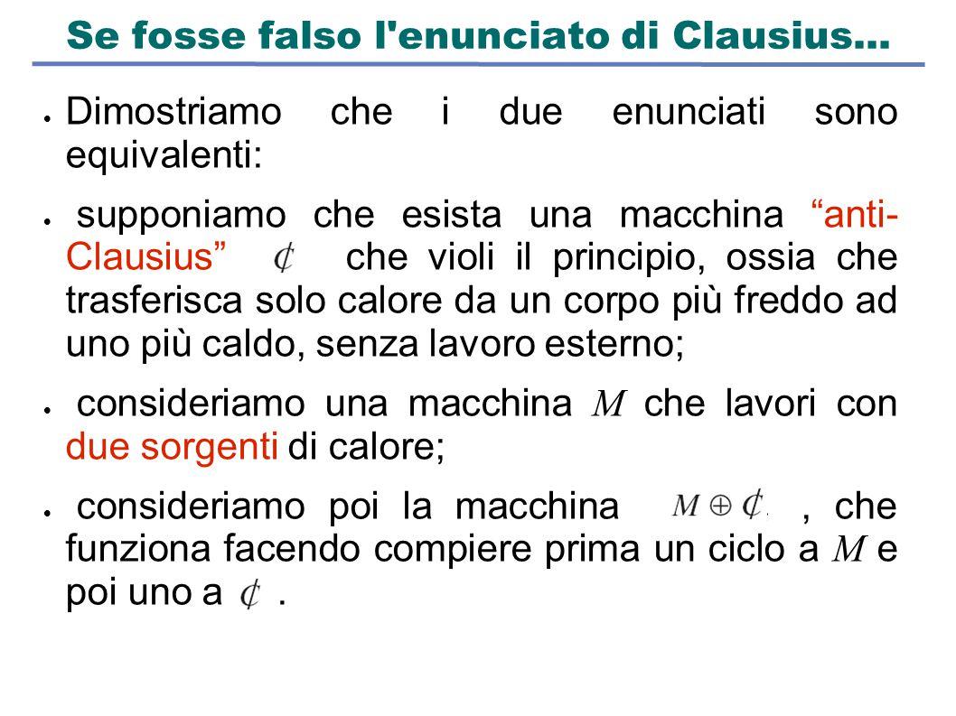"""Se fosse falso l'enunciato di Clausius...  Dimostriamo che i due enunciati sono equivalenti:  supponiamo che esista una macchina """"anti- Clausius"""" ch"""