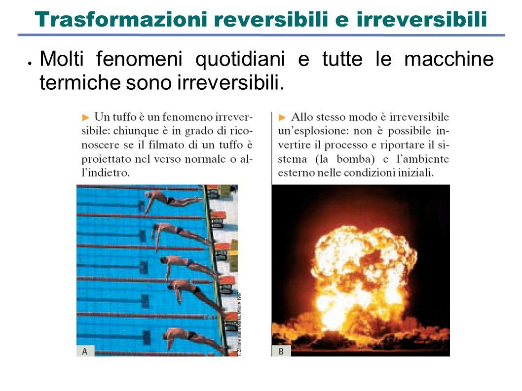 Trasformazioni reversibili e irreversibili  Molti fenomeni quotidiani e tutte le macchine termiche sono irreversibili.