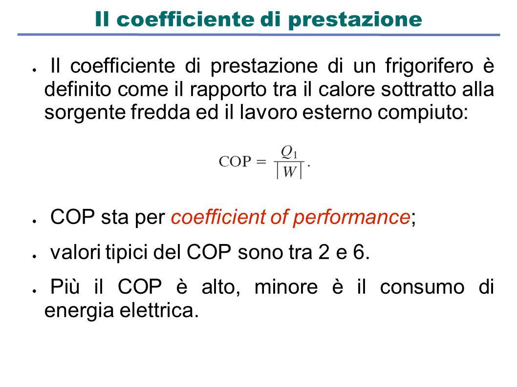 Il coefficiente di prestazione  Il coefficiente di prestazione di un frigorifero è definito come il rapporto tra il calore sottratto alla sorgente fr
