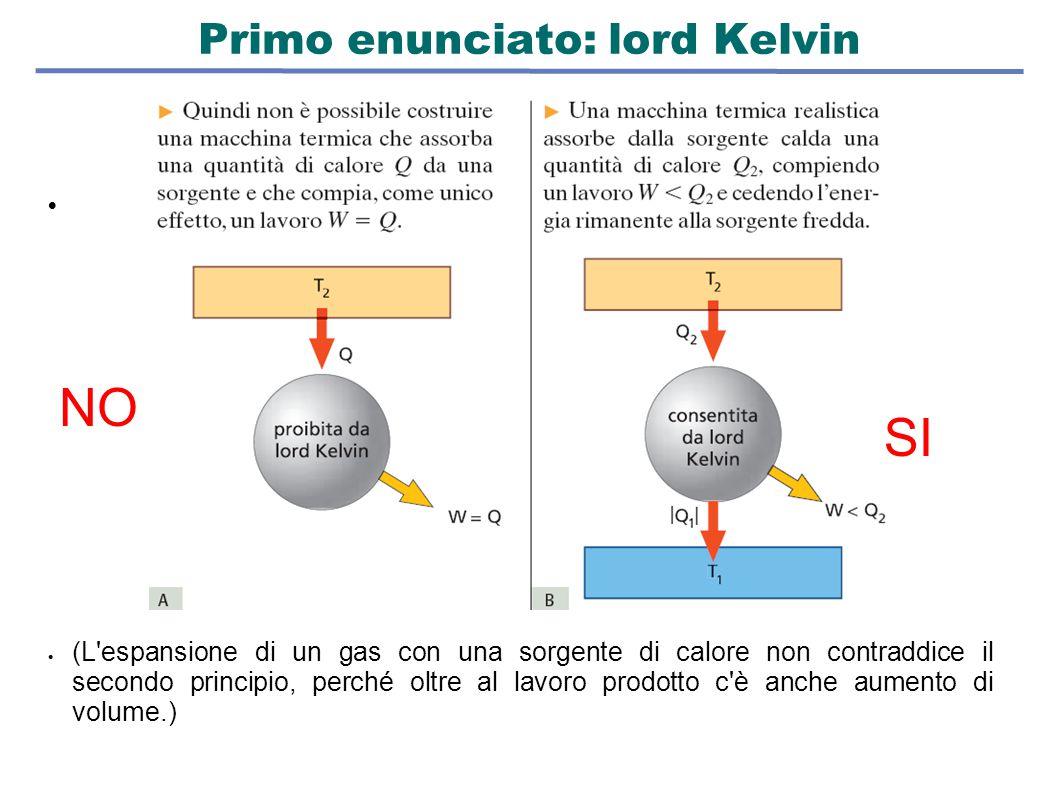 Primo enunciato: lord Kelvin   (L'espansione di un gas con una sorgente di calore non contraddice il secondo principio, perché oltre al lavoro prodo
