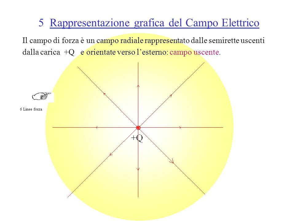 5 Rappresentazione grafica del Campo Elettrico Il campo di forza è un campo radiale rappresentato dalle semirette uscenti dalla carica +Q e orientate verso l'esterno: campo uscente.