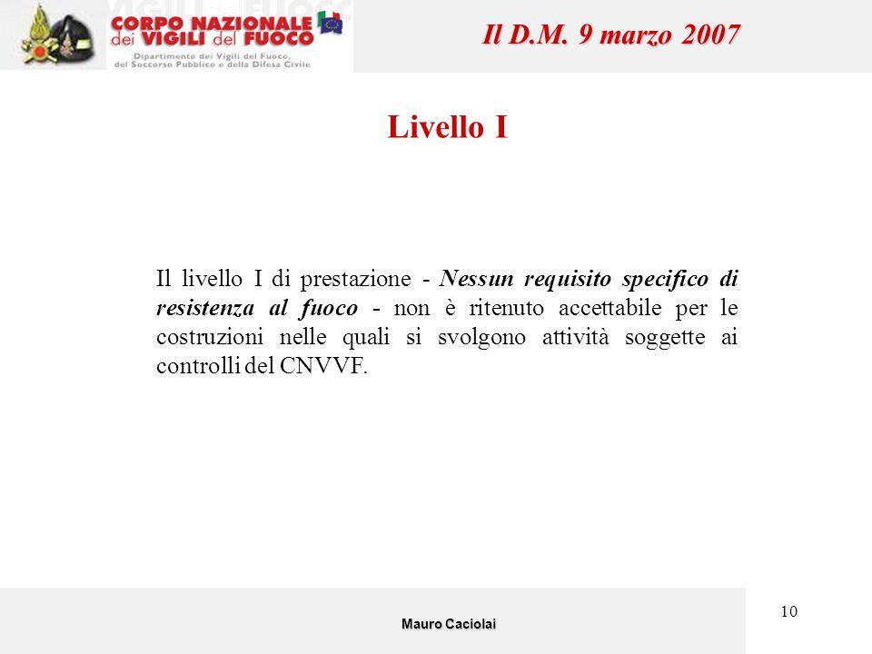 10 Il D.M. 9 marzo 2007 Livello I Il livello I di prestazione - Nessun requisito specifico di resistenza al fuoco - non è ritenuto accettabile per le