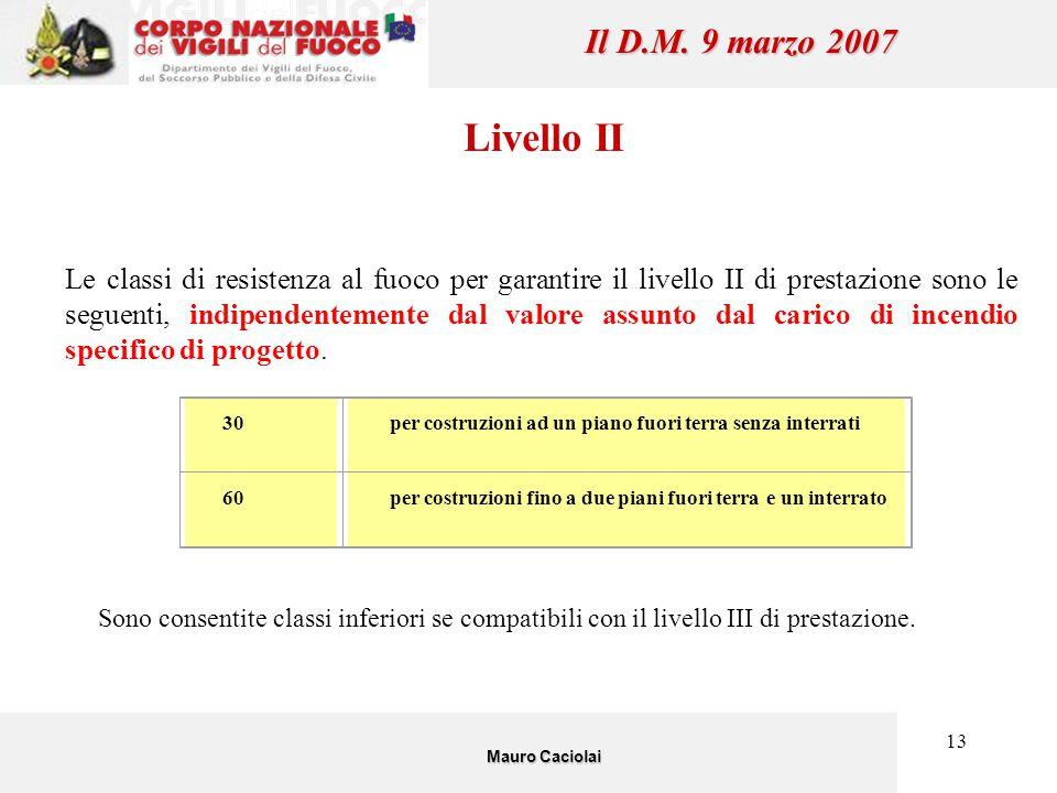 13 Il D.M. 9 marzo 2007 Livello II Le classi di resistenza al fuoco per garantire il livello II di prestazione sono le seguenti, indipendentemente dal