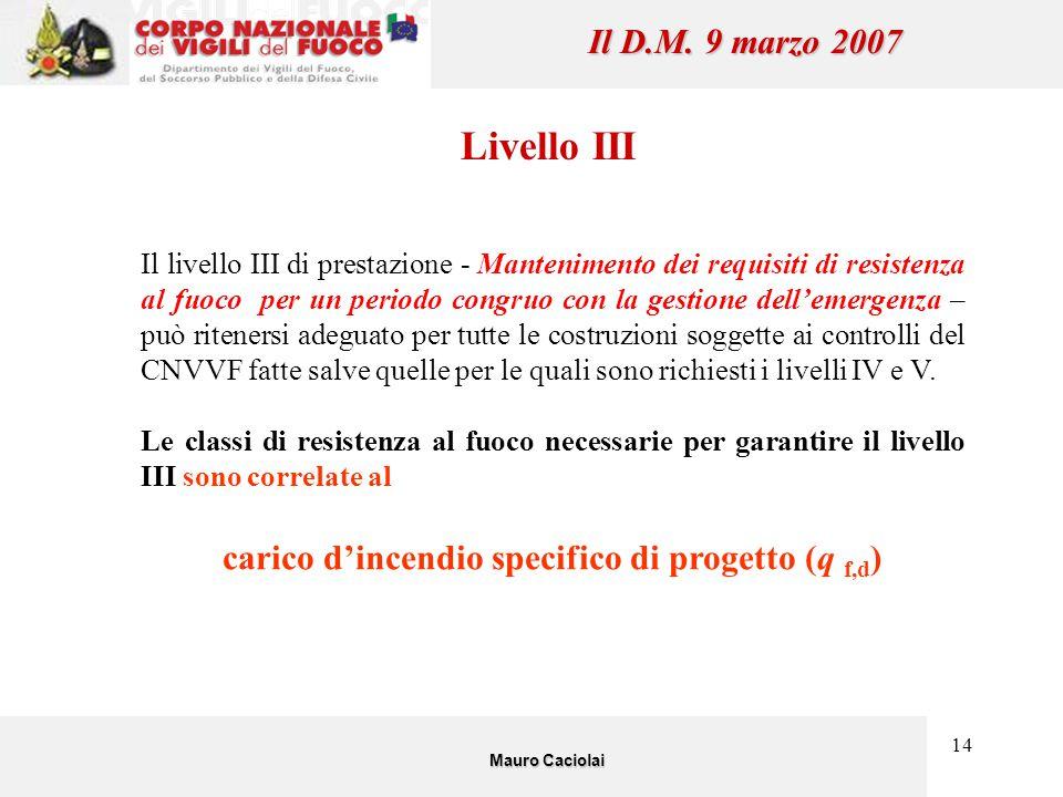 14 Il D.M. 9 marzo 2007 Livello III Il livello III di prestazione - Mantenimento dei requisiti di resistenza al fuoco per un periodo congruo con la ge