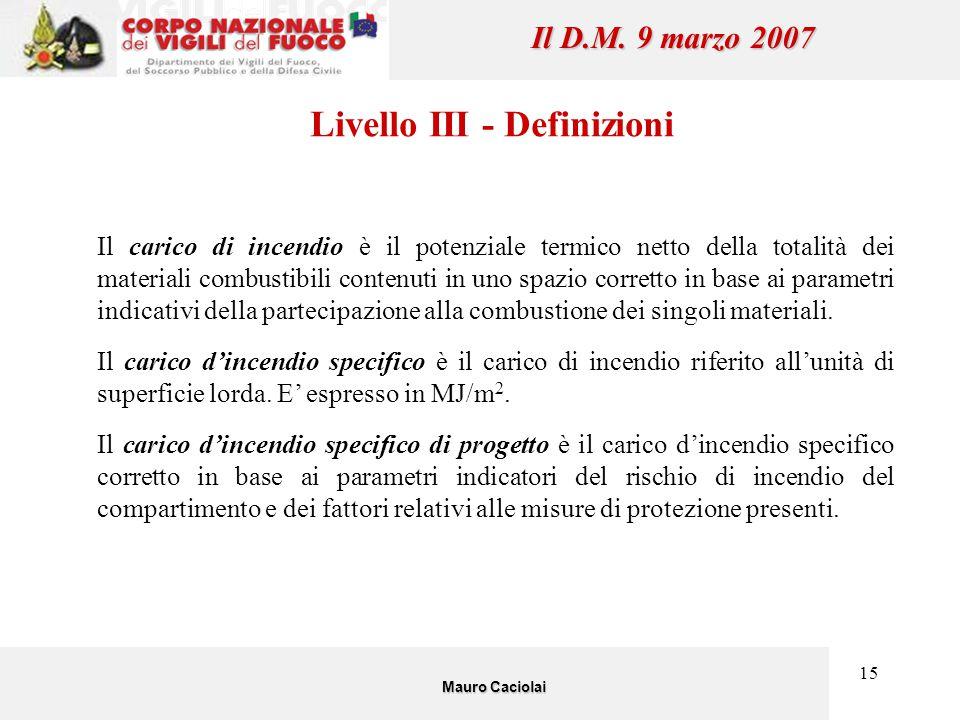 15 Il D.M. 9 marzo 2007 Livello III - Definizioni Il carico di incendio è il potenziale termico netto della totalità dei materiali combustibili conten