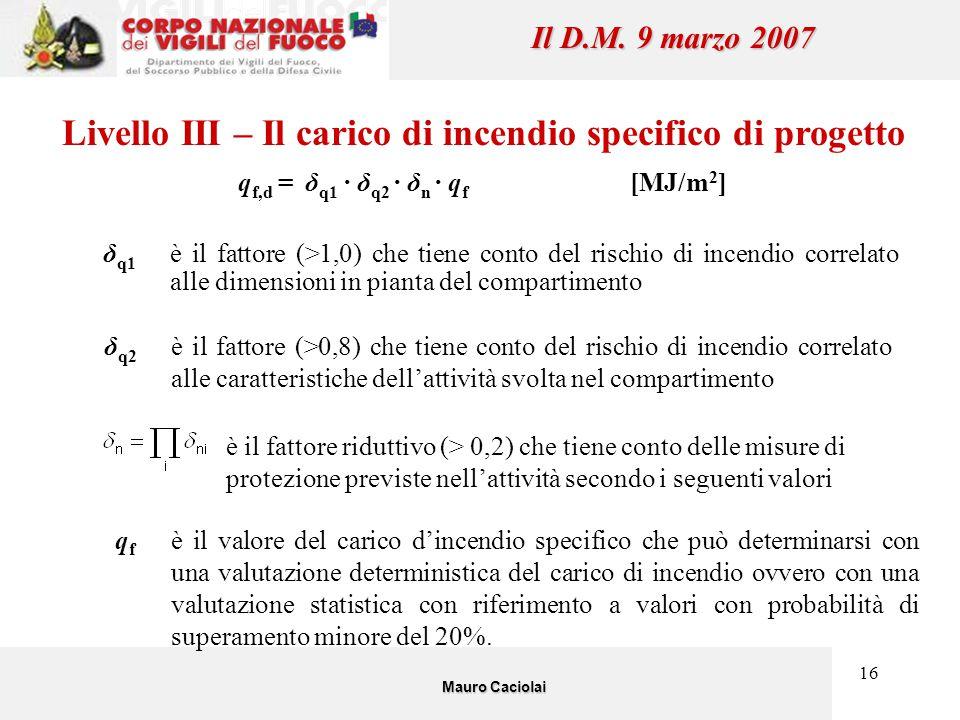 16 Il D.M. 9 marzo 2007 Livello III – Il carico di incendio specifico di progetto q f,d = δ q1 · δ q2 · δ n · q f [MJ/m 2 ] δ q1 è il fattore (>1,0) c
