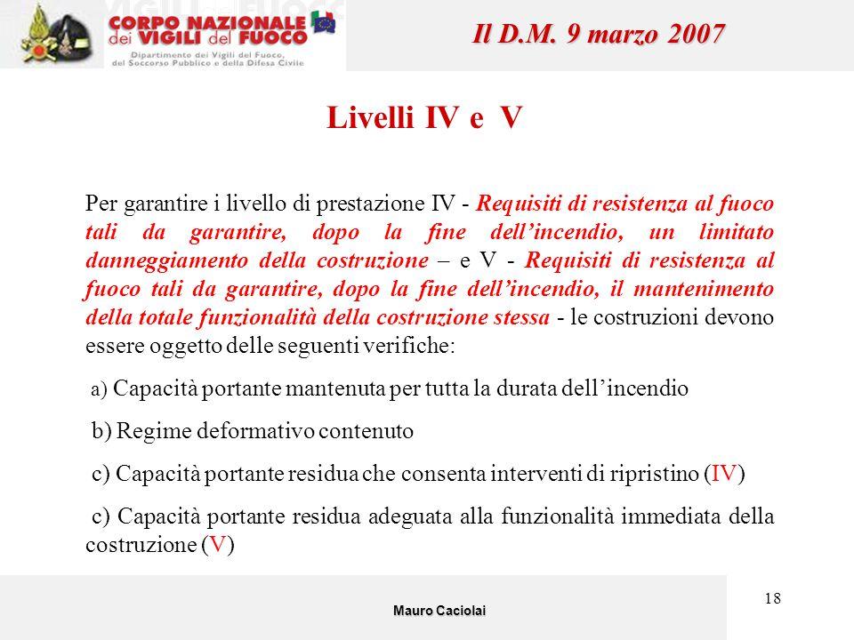 18 Livelli IV e V Per garantire i livello di prestazione IV - Requisiti di resistenza al fuoco tali da garantire, dopo la fine dell'incendio, un limit