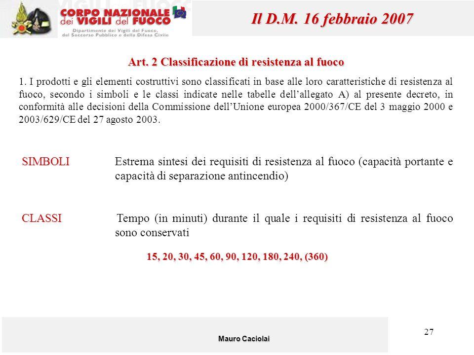 27 Mauro Caciolai Il D.M. 16 febbraio 2007 Art. 2 Classificazione di resistenza al fuoco 1. I prodotti e gli elementi costruttivi sono classificati in