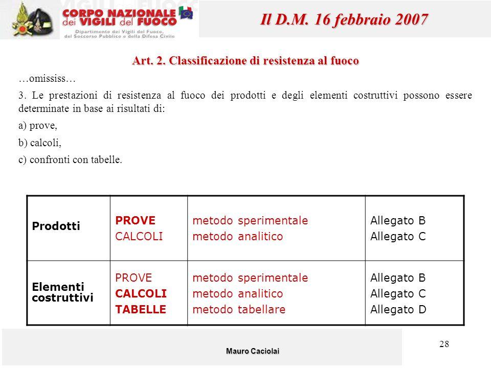 28 Mauro Caciolai Il D.M. 16 febbraio 2007 Art. 2. Classificazione di resistenza al fuoco …omississ… 3. Le prestazioni di resistenza al fuoco dei prod