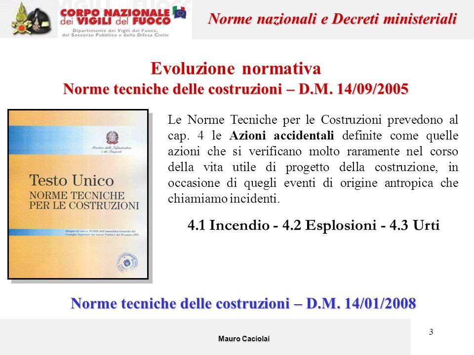 3 Evoluzione normativa Norme tecniche delle costruzioni – D.M. 14/09/2005 Mauro Caciolai Norme nazionali e Decreti ministeriali Le Norme Tecniche per
