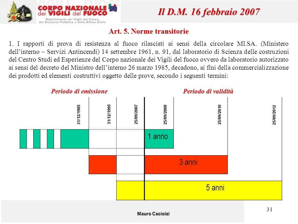 31 Mauro Caciolai Il D.M. 16 febbraio 2007 Art. 5. Norme transitorie 1. I rapporti di prova di resistenza al fuoco rilasciati ai sensi della circolare
