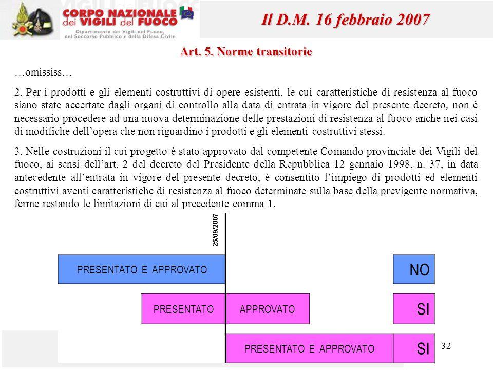 32 Mauro Caciolai Il D.M. 16 febbraio 2007 Art. 5. Norme transitorie …omississ… 2. Per i prodotti e gli elementi costruttivi di opere esistenti, le cu