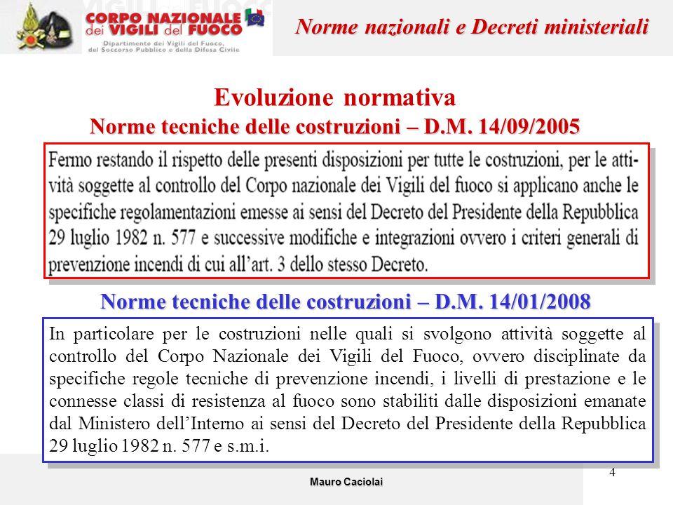 4 Evoluzione normativa Norme tecniche delle costruzioni – D.M. 14/09/2005 Mauro Caciolai Norme nazionali e Decreti ministeriali In particolare per le