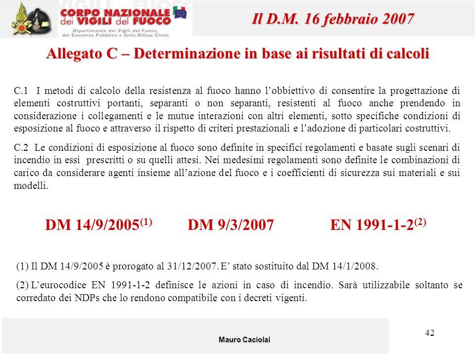 42 Mauro Caciolai Il D.M. 16 febbraio 2007 C.1 I metodi di calcolo della resistenza al fuoco hanno l'obbiettivo di consentire la progettazione di elem
