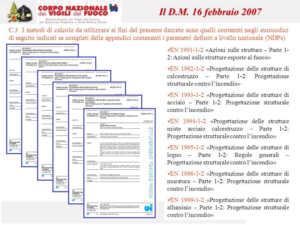 43 Il D.M. 16 febbraio 2007 C.3 I metodi di calcolo da utilizzare ai fini del presente decreto sono quelli contenuti negli eurocodici di seguito indic