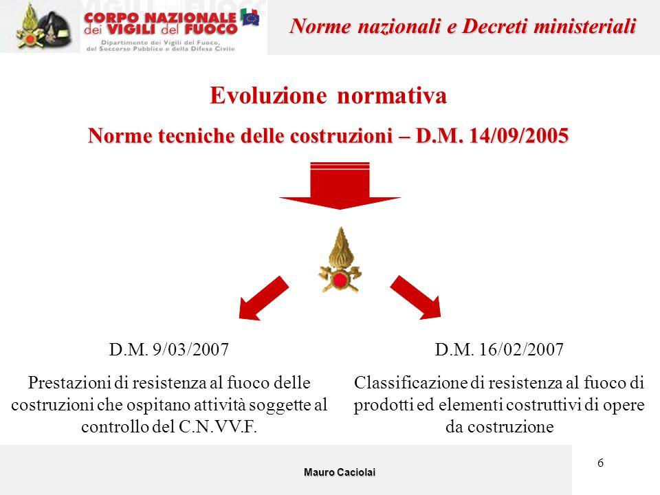 6 Evoluzione normativa Norme tecniche delle costruzioni – D.M. 14/09/2005 Mauro Caciolai Norme nazionali e Decreti ministeriali D.M. 9/03/2007 Prestaz