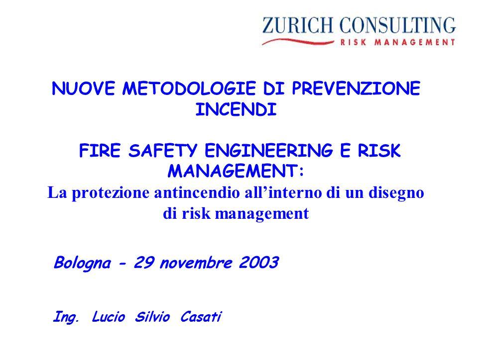 NUOVE METODOLOGIE DI PREVENZIONE INCENDI FIRE SAFETY ENGINEERING E RISK MANAGEMENT: La protezione antincendio all'interno di un disegno di risk management Bologna - 29 novembre 2003 Ing.