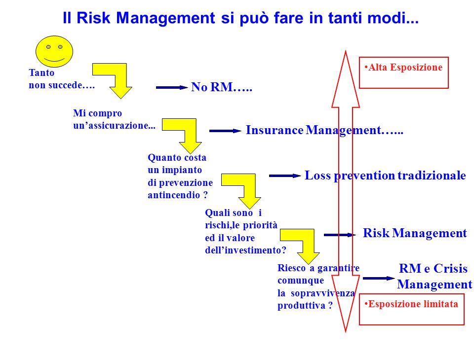 Risk Management obiettivo del risk manager e' la sostituzione dei costi dei rischi con altri costi (svantaggi) inferioriai primi