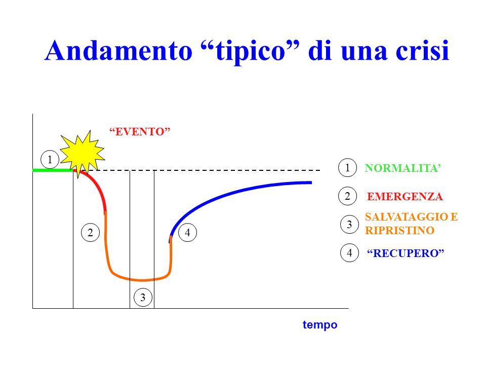 Andamento tipico di una crisi 1 2 3 4 1 2 3 4 NORMALITA' EVENTO SALVATAGGIO E RIPRISTINO RECUPERO EMERGENZA tempo
