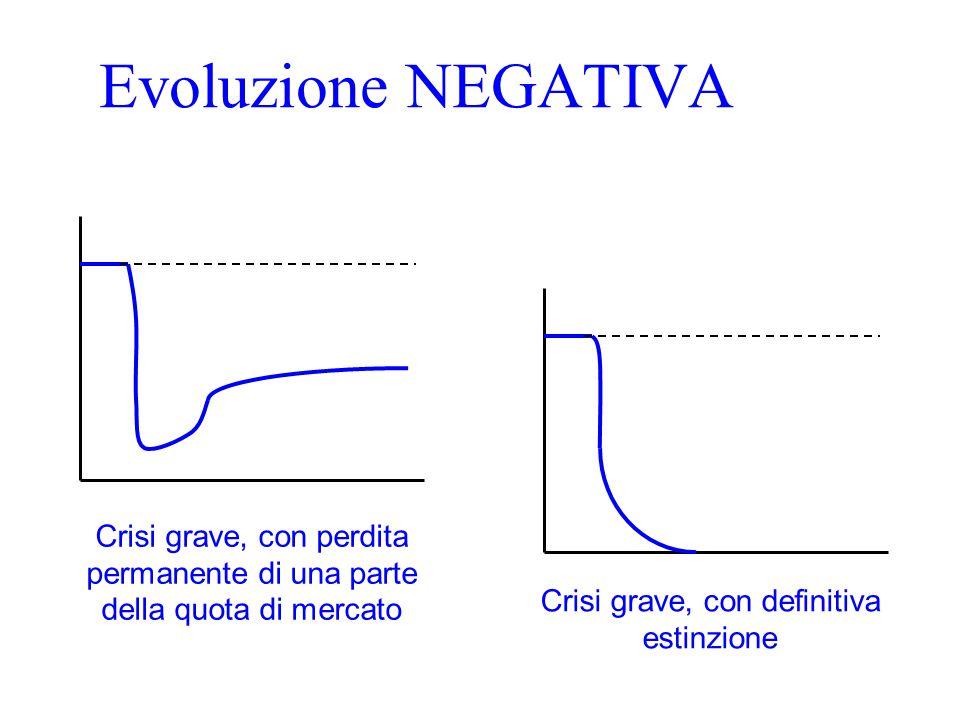 Evoluzione NEGATIVA Crisi grave, con perdita permanente di una parte della quota di mercato Crisi grave, con definitiva estinzione