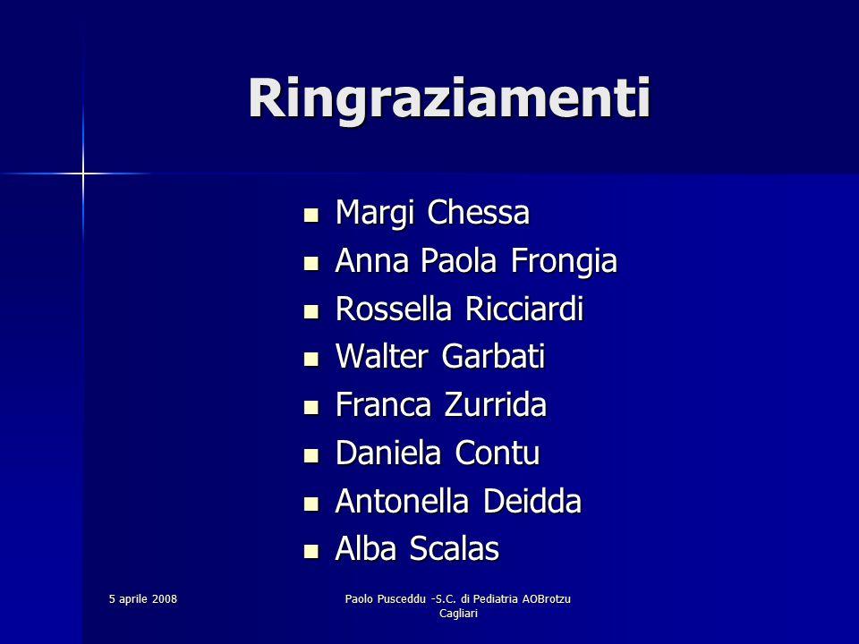 5 aprile 2008Paolo Pusceddu -S.C. di Pediatria AOBrotzu Cagliari Ringraziamenti Ringraziamenti Margi Chessa Margi Chessa Anna Paola Frongia Anna Paola