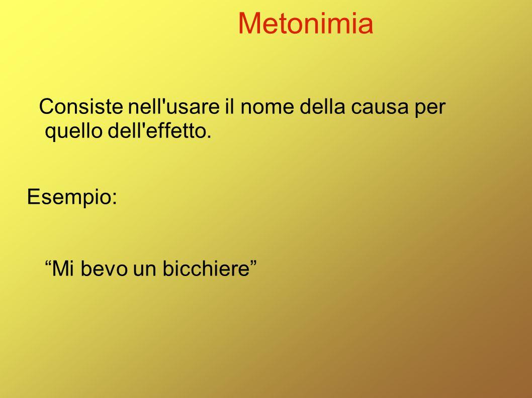 """Metonimia Consiste nell'usare il nome della causa per quello dell'effetto. Esempio: """"Mi bevo un bicchiere"""""""