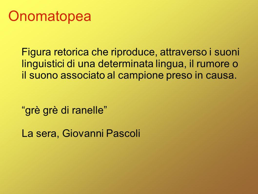 Onomatopea Figura retorica che riproduce, attraverso i suoni linguistici di una determinata lingua, il rumore o il suono associato al campione preso i